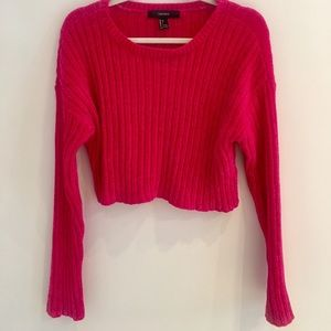 Hot Pink Chenille Forever 21 Cropped Sweater